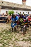 Jousting combatte il festival dell'avamposto medievale 2016 della cultura in Kamenetz-Podol'sk Immagini Stock Libere da Diritti