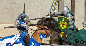 While jousting contact is made Stock Photos
