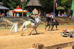 Jousting Demonstration Renaissance Festival MD. A demonstration of jousting etiquette with costumed characters entertained patrons from all over the world prior Stock Photo