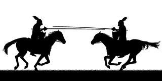 Jousting. Editable vector silhouettes of two knights on horses jousting with all figures as separate objects Stock Photos