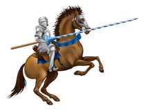 Jousting knight. Drawing of a jousting knight in armour on horse back Stock Photos
