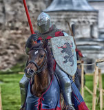Jousting Knight On Horseback Royalty Free Stock Photo