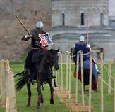 Jousting Knight On Horseback Stock Photography