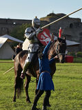 Jousting Knight On Horseback Royalty Free Stock Photography