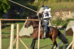 Jousting Knight On Horseback Royalty Free Stock Photos