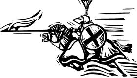 Jousting Knight Right. Woodcut expressionist style image of a jousting knight Royalty Free Stock Photography