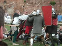 Jousting Knights at teutonic castle Stock Photos