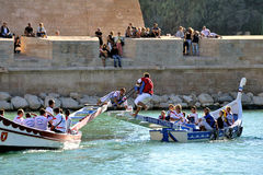 Jousting on the old port of Marseille Royalty Free Stock Photos