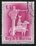 Jousting San Marino. SAN MARINO - CIRCA 1963: stamp printed by San Marino, shows Jousting with `Saracen`, circa 1963 Stock Image