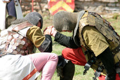 Jousting tournament. Knightly arm wrestling Stock Photos