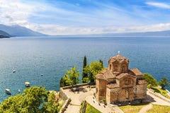 Jovan Kaneo Church sjö Ohrid, Makedonien Arkivfoto