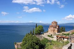Jovan Kaneo orthodox church Ohrid Macedonia landscape Stock Photos