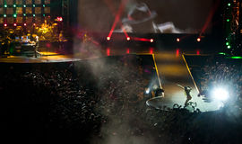 Jovanotti in concert #2. The italian singer Lorenzo 'Jovanotti' Cherubini during a concert Royalty Free Stock Photo