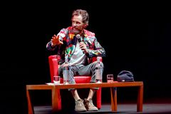 Jovanotti, Lorenzo Cherubini, interview. Rome, Italy - October 16, 2016. Italian singer Jovanotti Lorenzo Cherubini is interviewed during the meeting with the Stock Photos