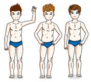 Jovem adolescente doce dos rapazes pequenos que está no roupa interior azul Vetor Foto de Stock Royalty Free