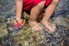 Jovem criança, guardando estrelas do mar vermelhas em suas mãos na praia Fotos de Stock