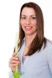 Jovem mulher agradável com vara de aipo Imagens de Stock Royalty Free