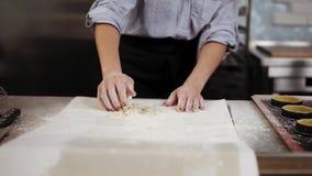 A jovem mulher amassa a massa na cozinha moderna, fatura caseiro da padaria Pasteleiro fêmea que prepara a torta, as cookies ou o vídeos de arquivo