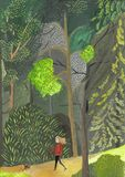 A jovem mulher anda com o c?o atrav?s das madeiras Menina do conceito no vestido verde com bass?, caniche, smartphone ilustração stock
