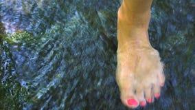 A jovem mulher anda em Crystal Clear Fresh Water Stream raso filme