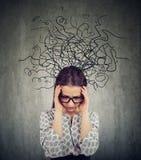 Jovem mulher ansiosa na depressão imagem de stock royalty free