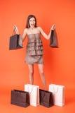 A jovem mulher atrativa é louca sobre a compra Fotografia de Stock