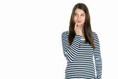 Jovem mulher atrativa, no fundo branco Fotografia de Stock Royalty Free