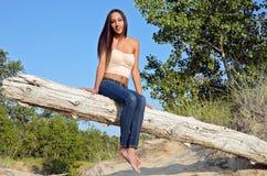 jovem mulher atrativa no log da praia foto de stock