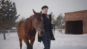 A jovem mulher bonita anda com o cavalo bonito no rancho do inverno na neve Jovem mulher que conduz seu cavalo fora Conceito video estoque