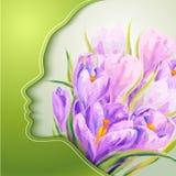 Jovem mulher bonita com as flores no cabelo Imagem de Stock