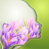 Jovem mulher bonita com as flores no cabelo Imagens de Stock Royalty Free