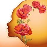 Jovem mulher bonita com as flores no cabelo Imagem de Stock Royalty Free
