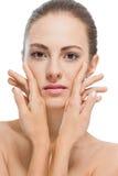 Jovem mulher bonita com pele perfeita e composição macia Fotos de Stock
