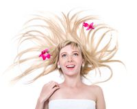 Jovem mulher bonita da surpresa, isolada no branco Imagens de Stock Royalty Free