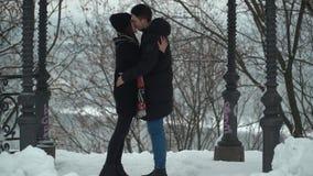 A jovem mulher bonita e o homem que beijam passionately no parque do inverno coberto com os pares felizes da neve no amor aprecia filme