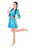 Jovem mulher bonita em um vestido ciano curto fotografia de stock royalty free