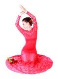 Jovem mulher bonita em um vestido de noite vermelho Foto de Stock