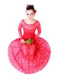 Jovem mulher bonita em um vestido de noite vermelho Imagem de Stock Royalty Free
