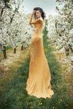 Jovem mulher bonita entre árvores de maçã perfumadas Foto de Stock Royalty Free