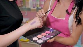 A jovem mulher bonita na loja da perfumaria escolhe cosméticos com cosultant Fotografia de Stock