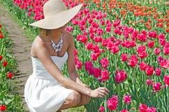 Jovem mulher bonita nas tulipas foto de stock