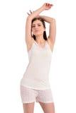 Jovem mulher bonita no pyjama foto de stock royalty free