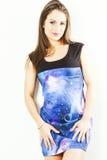 Jovem mulher bonita no vestido colorido Imagem de Stock