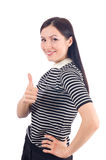 Jovem mulher bonita que mostra o polegar acima do sinal Foto de Stock Royalty Free