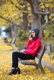 Jovem mulher bonita que usa seu telefone celular ao trabalhar com o portátil no outono Fotos de Stock Royalty Free