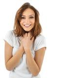 Jovem mulher bonito surpreendida Fotos de Stock Royalty Free