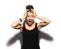 Jovem mulher chocada Imagens de Stock Royalty Free