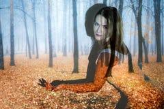 Jovem mulher coberta com a imagem da floresta do outono foto de stock