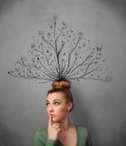 Jovem mulher com as linhas tangled que saem de sua cabeça Imagens de Stock