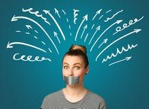 Jovem mulher com boca colada Imagem de Stock